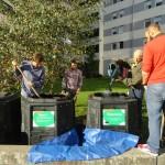 Transfert du compost sur la placette au pied de l'Hotel Ibis et la tour Elithis